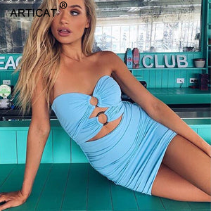 Off Shoulder Pleated Sexy Dress Women Strapless Holllow Out  Bodycon Party Summer Dress Slim Backless Casual Beach Dress