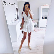 Load image into Gallery viewer, White Embroidery Cotton Dresses Summer Women Short Sleeve Casual Beach Sundress Sexy V Neck Hollow Out Mini Dress