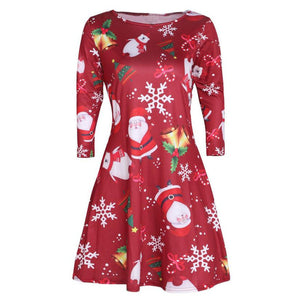 2019 NEW HOT Fashion Ladies Womens Xmas Christmas Santa Skater Ladies Snowman Swing Dress Free ship #4