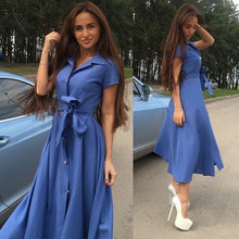 Load image into Gallery viewer, Women Vintage Sashes Button Party Dress Short Sleeve Turn Down Collar Office Elegant Maxi Dress 2019 Summer Fashion Women Dress