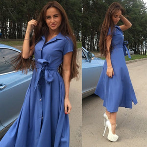 Women Vintage Sashes Button Party Dress Short Sleeve Turn Down Collar Office Elegant Maxi Dress 2019 Summer Fashion Women Dress