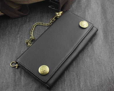 Classic Conchos Trifold Leather Wallet