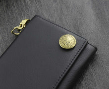 Load image into Gallery viewer, Indian Conchos Trifold Leather Wallet