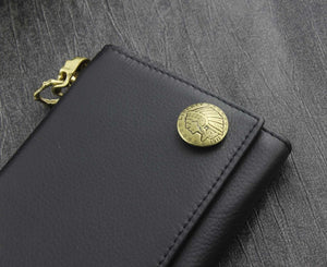 Indian Conchos Trifold Leather Wallet