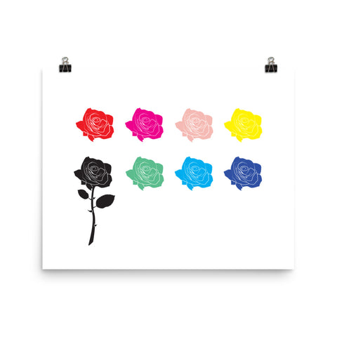 Multicolored Rose Print Poster
