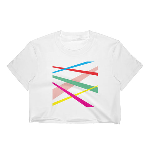 Multicolored Lines Women's Crop Top