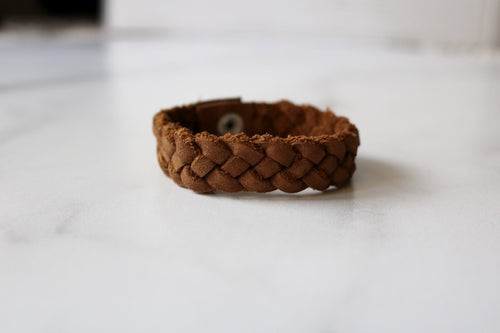 Four Strand Leather Bracelet With Snap