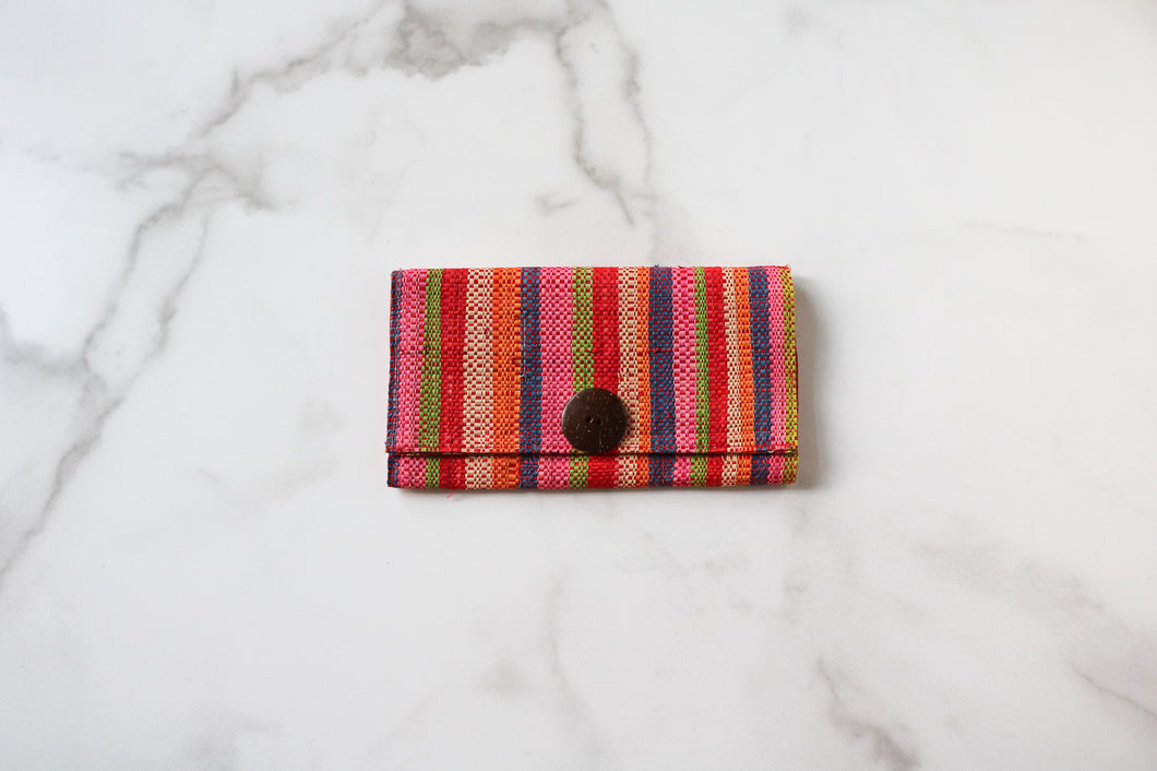 Madagascar Woven Wallet: Orange, Pink and Blue Striped