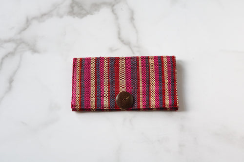 Madagascar Woven Wallet: Pink, Purple and Red Wide Striped
