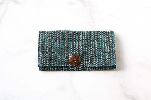 Madagascar Woven Wallet: Blue and Black Striped Style #2