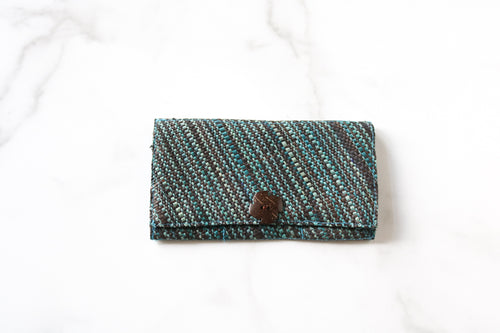 Madagascar Woven Wallet: Blue and Black Striped Style #3