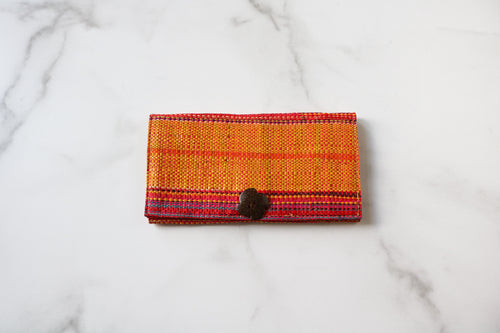 Madagascar Woven Wallet: Yellow and Pink Stripe Style #2