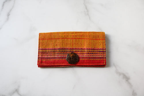 Madagascar Woven Wallet: Yellow and Pink Stripe Style #3