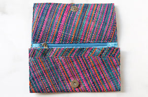 Madagascar Woven Wallet: Blue and Pink Style #2