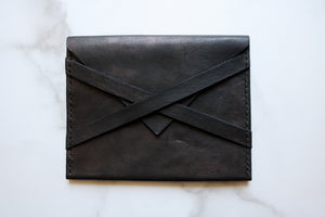 Yonnah Leather Cross Strap Clutch in Black