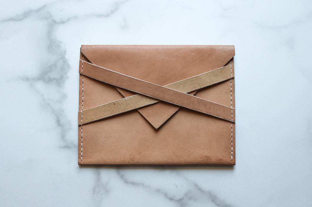 Yonnah Leather Cross Strap Clutch in Natural