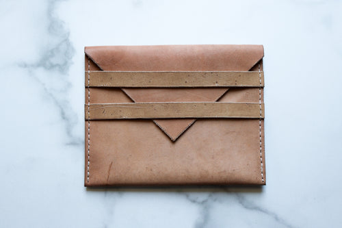 Yonnah Leather Two Strap Clutch in Natural