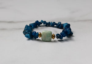 Hope Collection: Chunky Blue Bracelet with Green