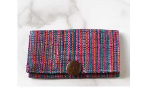 Madagascar Woven Wallet: Blue and Pink Style #1