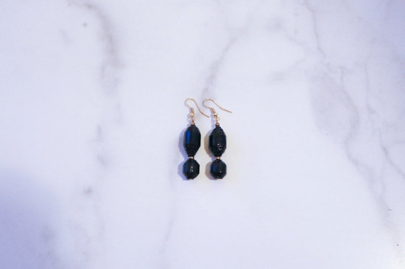 Mayuge Black Paper Bead Earrings