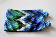 Load image into Gallery viewer, One of a Kind Guatemala Blue and Green Zig Zag Beaded Bracelet