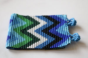 One of a Kind Guatemala Blue and Green Zig Zag Beaded Bracelet