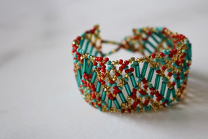 One of a Kind Guatemala Blue and Red Beaded Bracelet