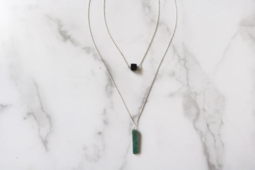 Amazonite and Black Lava Necklace