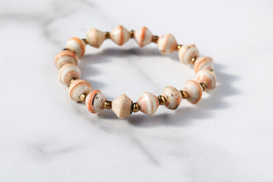 Orange and Cream Bracelet Stack