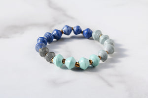 Joyce Bracelet Stack in Blue, Turquoise, Grey and Black
