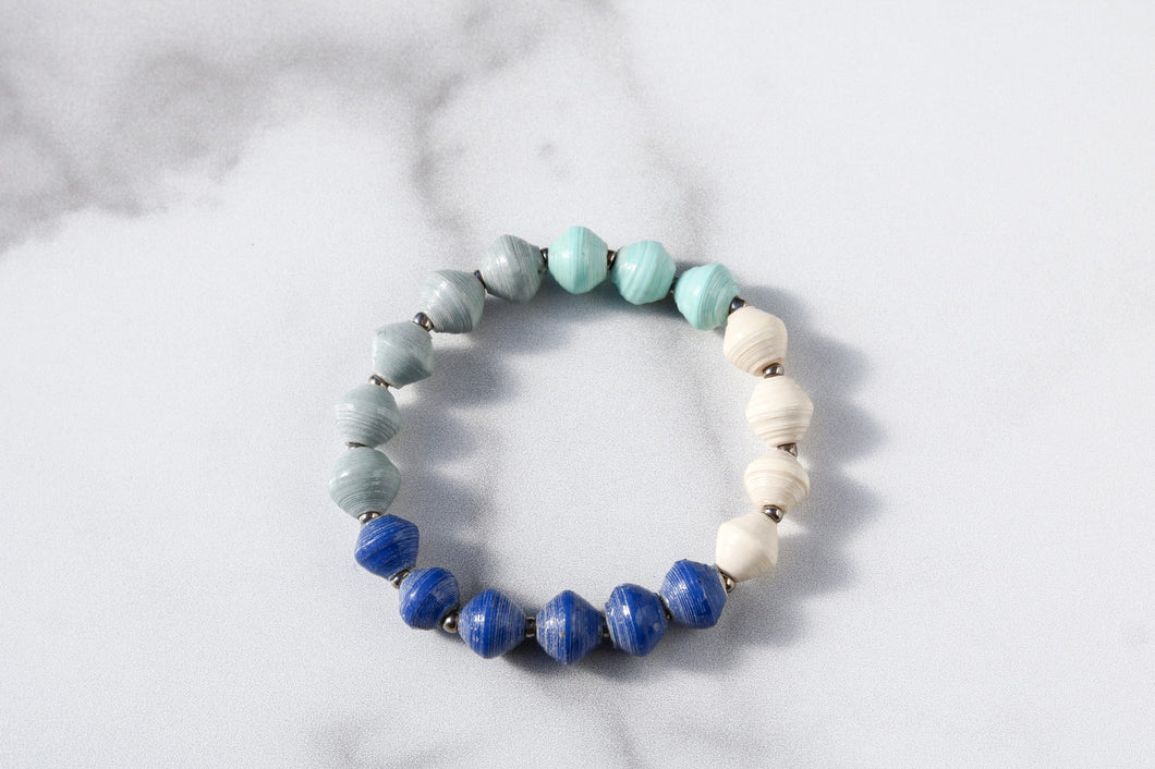 Joyce Bracelet Stack in Blue, Turquoise, Grey and White