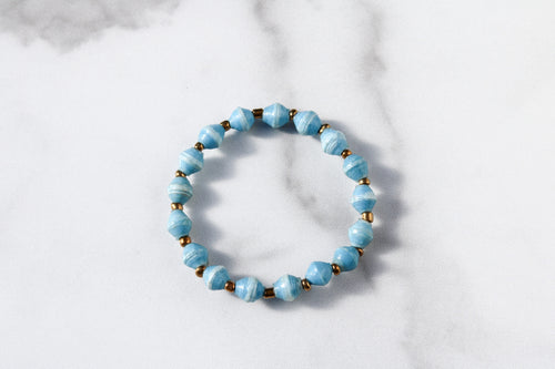 Joyce Bracelet Stack Small Beads in Light Blue