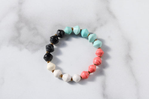 Joyce Bracelet Stack in Salmon, White, Black and Turquoise