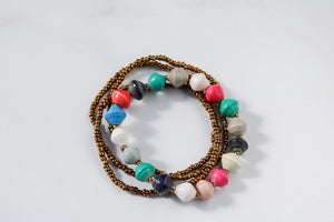 Joyce Bracelet Stack Large Beads in Multicolor
