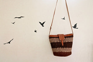 Sisal Crossbody Basket Purse - Black and Neutral Style #2