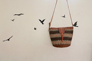 Sisal Crossbody Basket Purse - Black and Neutral Style #3