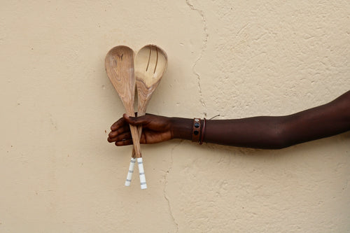 Hand Carved Kitchen Salad Tongs