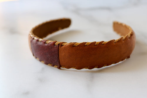 One of a Kind Leather Patch Headband from Guatemala - Style #2