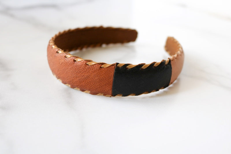 One of a Kind Leather Patch Headband from Guatemala - Style #1