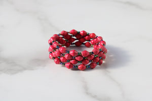 Joyce Red Bracelet with Bronze Accents