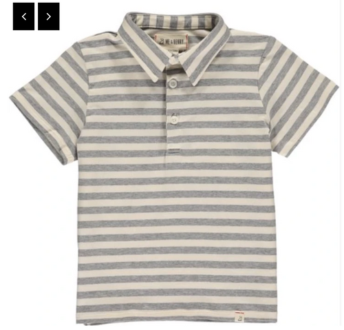 Grey/Cream Stripe Polo