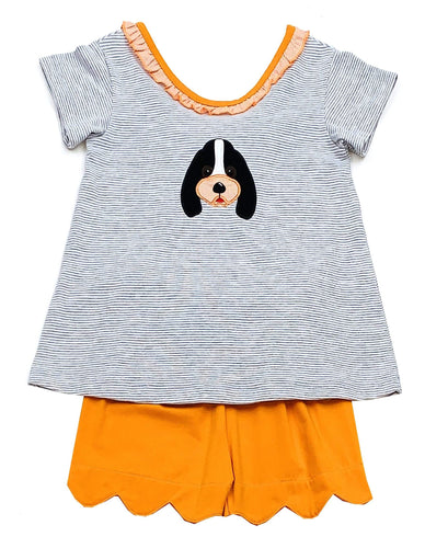 Girls Smokey Dog Short Set Collegiate