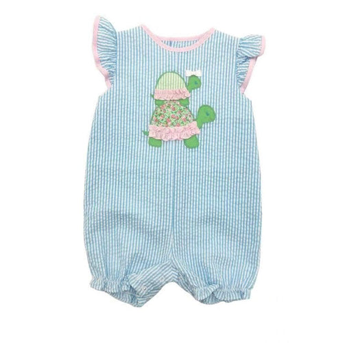 Girl's Blue Seersucker Romper with Turtle Applique-Petit Ami-Libby & Puddins