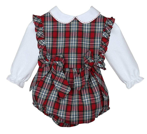 Red Merry Tartan Holiday Plaid Ruffle Bubble