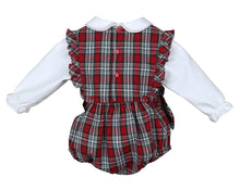 Load image into Gallery viewer, Red Merry Tartan Holiday Plaid Ruffle Bubble