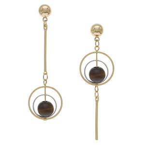 2 Tone Wood Bead Asymmetric Earrings