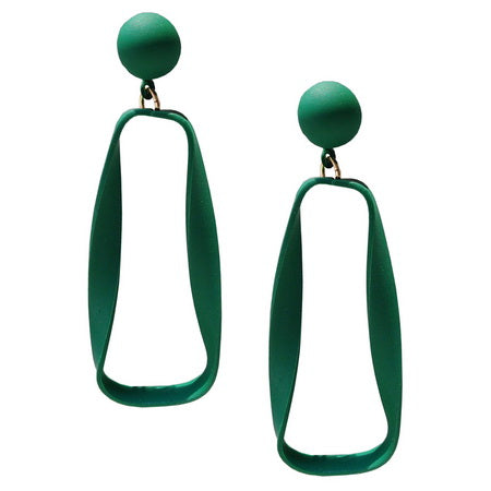 Button Top Curved Green Earrings
