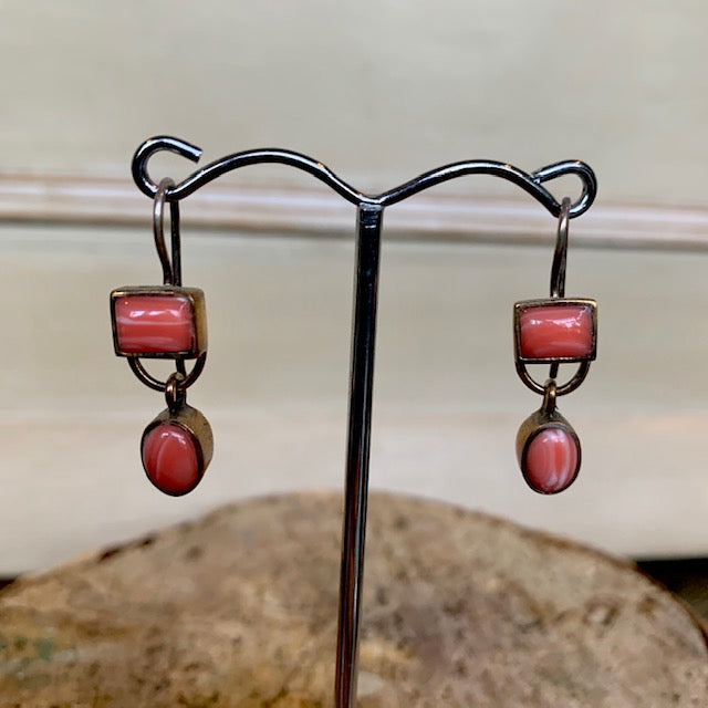 Coral Stone Drop Earrings