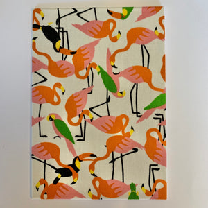 Flamingos and Toucans Fabric Card