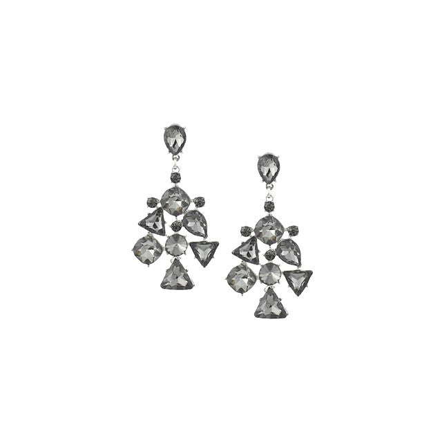 Grey Crystal Statement Earrings